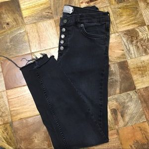 Free People button up high waisted skinny jeans